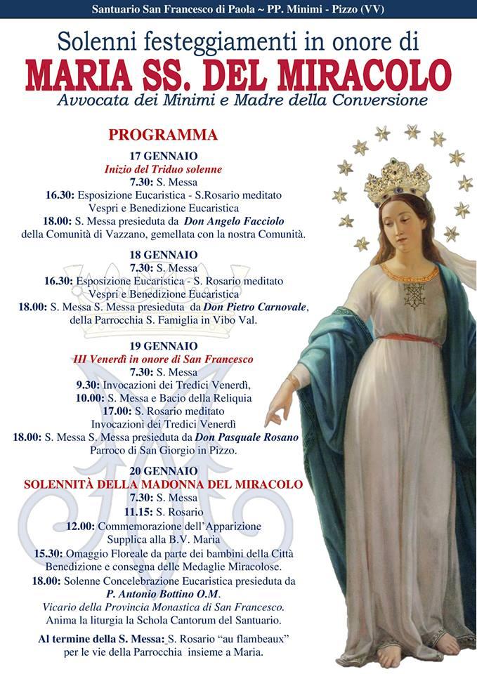 Solenni festeggiamenti in onore di MARIA SS. DEL MIRACOLO