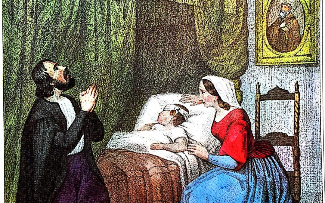 Il neonato Francesco è colpito ben presto da un ascesso maligno che ne mette il pericolo la vista. I genitori implorano la guarigione dal Santo d'Assisi (Vita anonima)