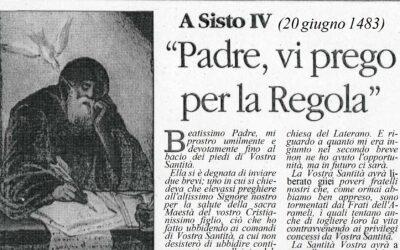 """LE LETTERE DI SAN FRANCESCO DI PAOLA: A Sisto IV (20 Giugno 1483) – """"Padre, vi prego per la Regola"""""""