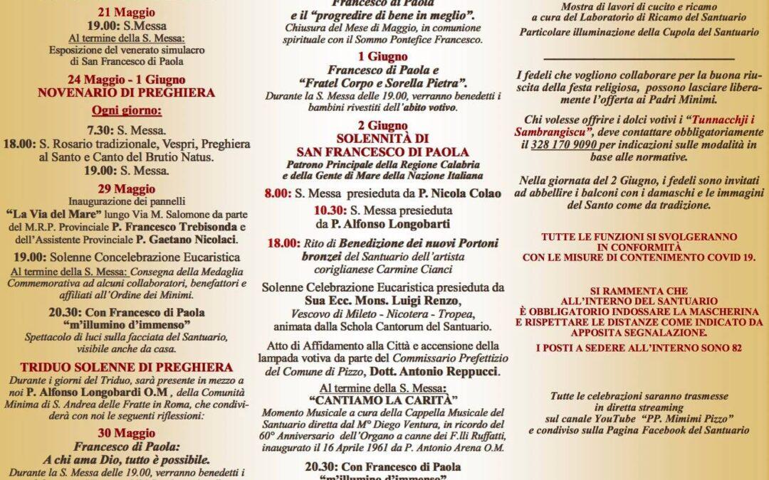 SANTUARIO FRANCESCO DI PAOLA DI PIZZO     Programma Solenni Festeggiamenti in onore di San Francesco di Paola dal 24/05/21 al 02/06/21