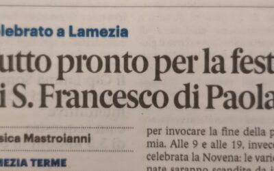 Lametia Terme. Tutto pronto per la Festa di San Francesco di Paila